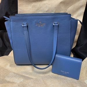 Kate ♠️ blue MD satchel and card holder